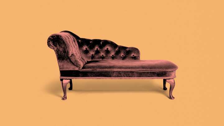 A picture of a therapist's couch
