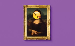 Photo illustration of face-throwing-a-kiss emoji covering the Mona Lisa's face