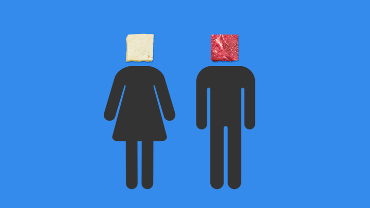 A stick-figure woman with a block of tofu for a head, and a stick-figure man with a block of meat for a head