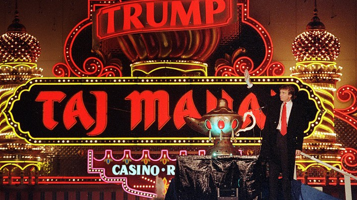 Donald Trump celebrates the opening of the Trump Taj Mahal in Atlantic City in 1990. A year later, it was bankrupt.