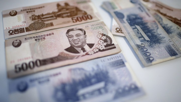 A portrait of the late Kim Il Sung is seen on the 5,000 bill of the North Korean won