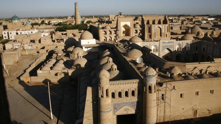 Aerial view of Khiva, Uzbekistan.