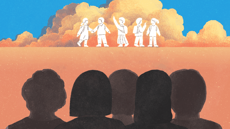 Five silhouettes facing backward look at the outlines of children in the distance, representing their younger selves