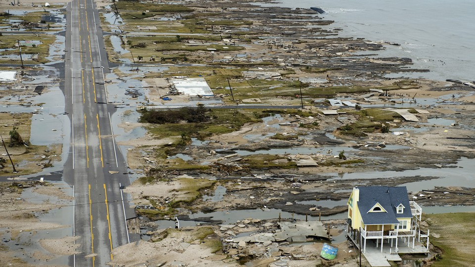 The aftermath of Hurricane Ike in Gilchrist, Texas