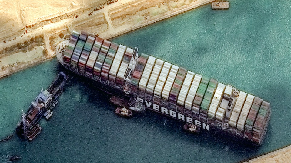 Satellite image of the Ever Given, stuck in the Suez