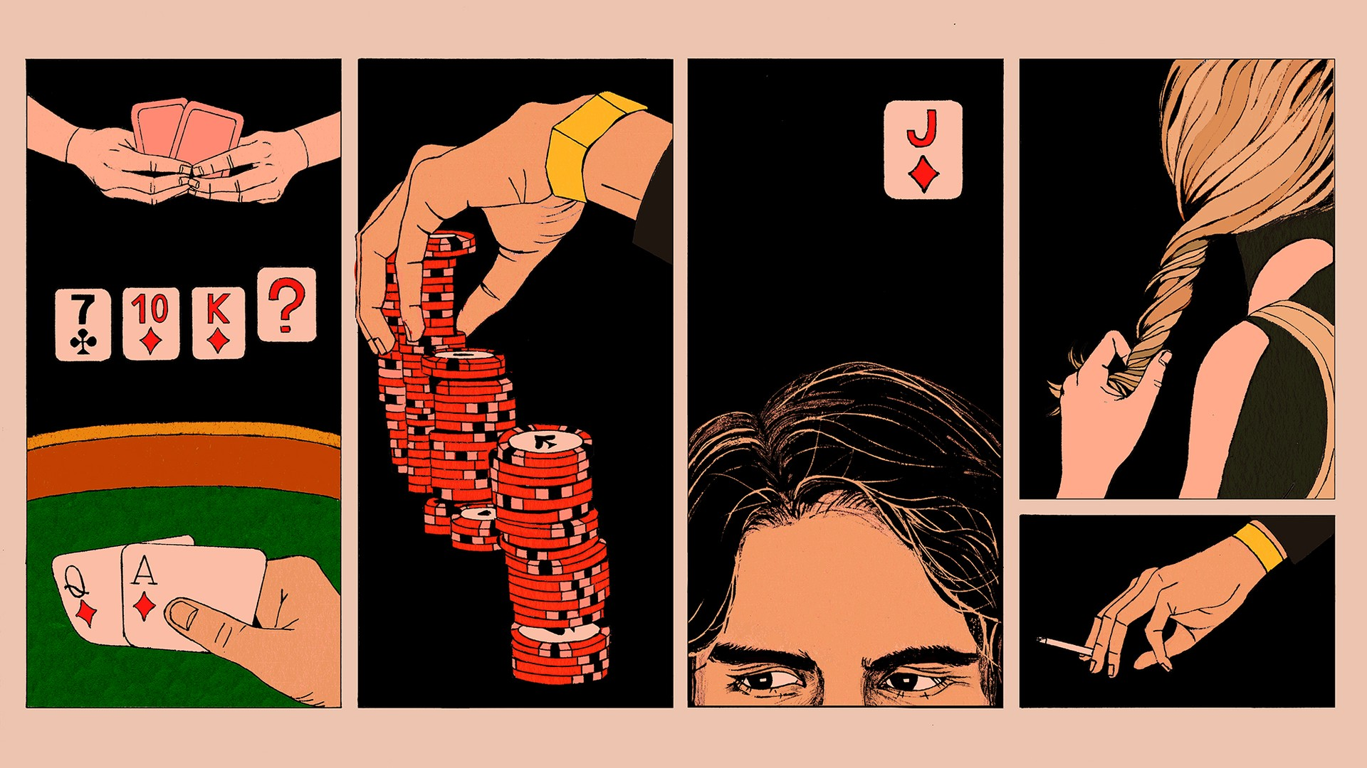 An illustration of poker scenes
