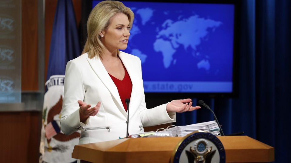 Heather Nauert briefs reporters at the State Department in 2017.