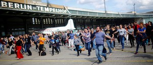 Berliners party on the tarmac for a dance festival at the former Tempelhof airport in September 2017.