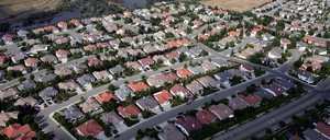 Suburban homes are pictured in Fresno, California.