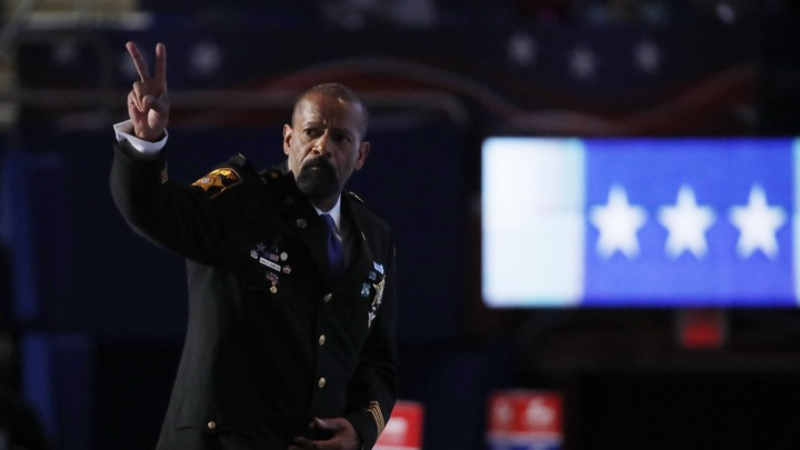 Sheriff David Clarke gives a peace sign at the 2016 Republican National Convention.
