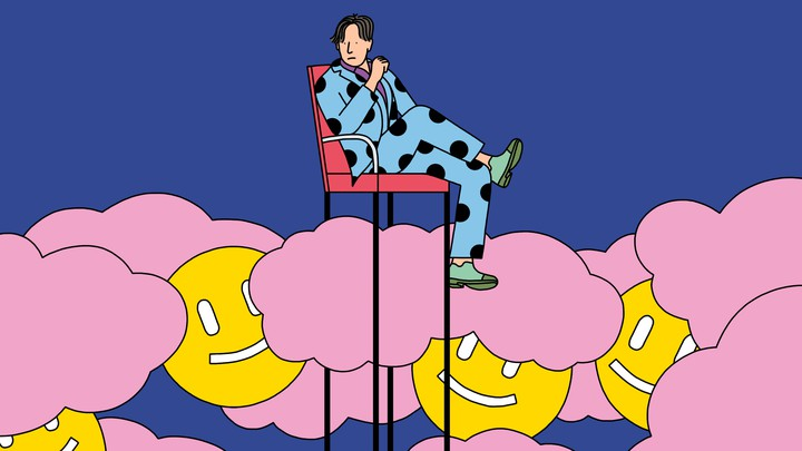 A man in a suit sits in a tall chair above clouds and a crowd of smiley faces.