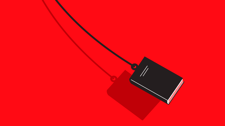 An illustration of a book swinging