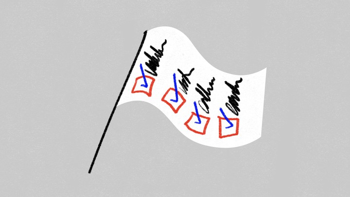 An illustration of a flag with a checklist and checkboxes