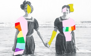 A black-and-white photo of two women holding hands while standing in the ocean is overlaid with colorful graphic shapes.