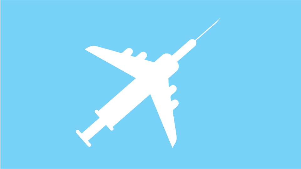 Art of a vaccine overlapped with a plane