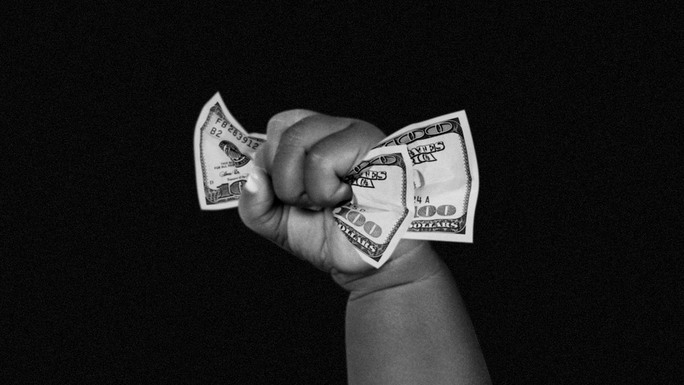 An illustration of a baby hand holding money.