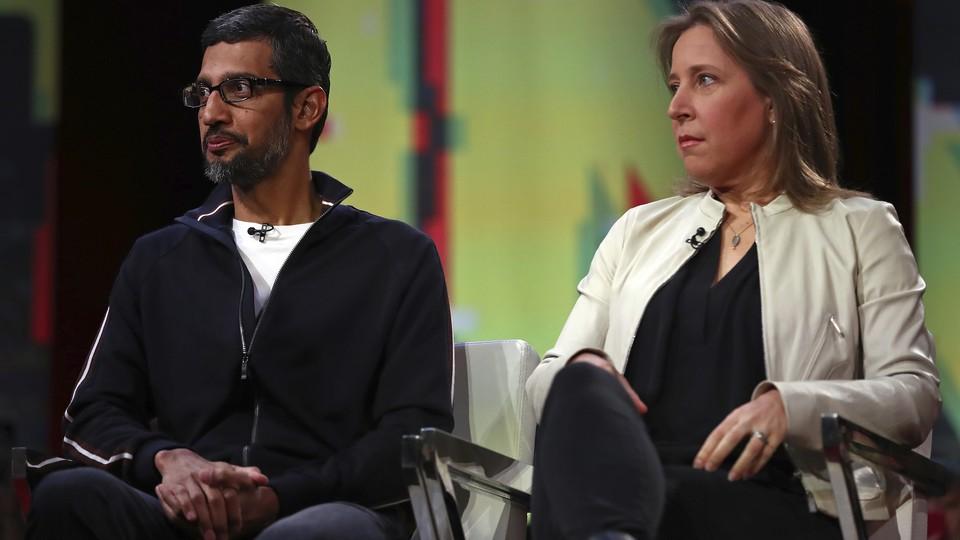 Google CEO Sundar Pichai and YouTube CEO Susan Wojcicki seated side by side