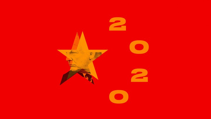 A version of the Chinese flag that imposes President Donald Trump's image and the number 2020 onto the stars