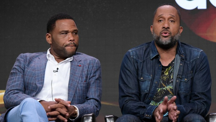 Kenya Barris and 'Black-ish' star Anthony Anderson at a 2016 press conference