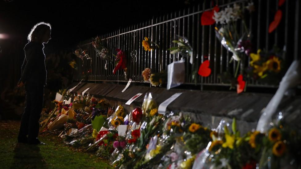 A makeshift memorial near the Masjid Al Noor mosque in Christchurch, New Zealand