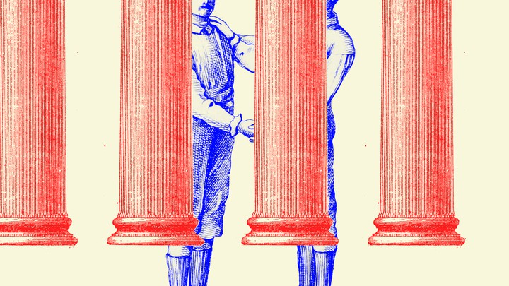 An illustration of columns of the Supreme Court and two men shaking hands