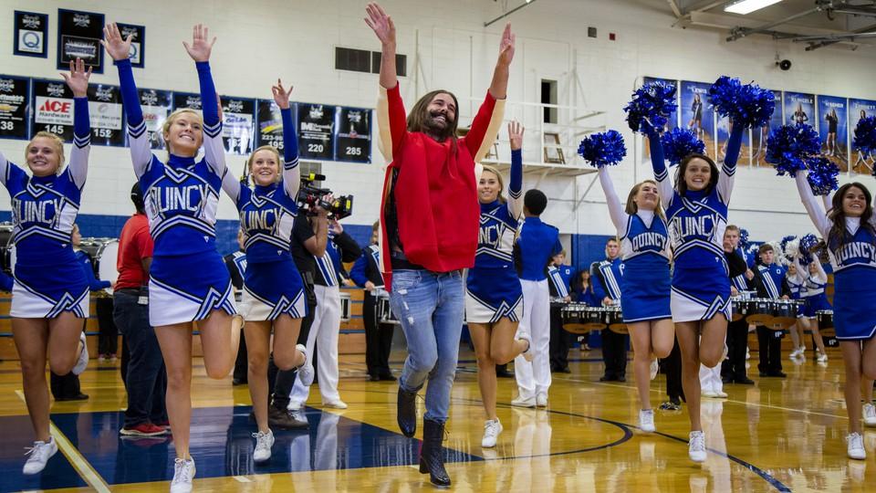 Jonathan Van Ness cheers at his hometown high school.