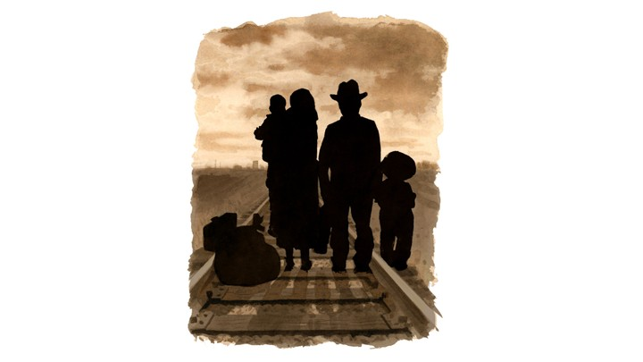 illustration of a family standing on a train track in silhouette