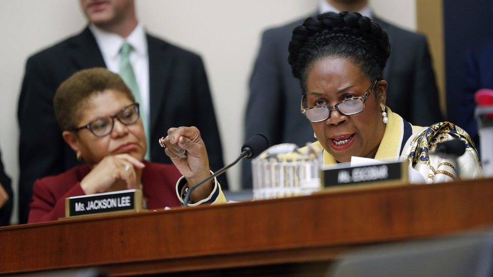Rep. Sheila Jackson Lee speaks during a hearing about reparations before the House Judiciary Subcommittee on the Constitution, Civil Rights and Civil Liberties on June 19, 2019