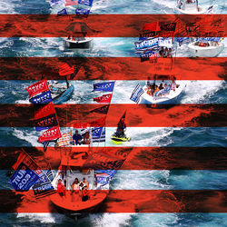 Illustration of Trump supporters on boats overlaid with horizontal red stripes.
