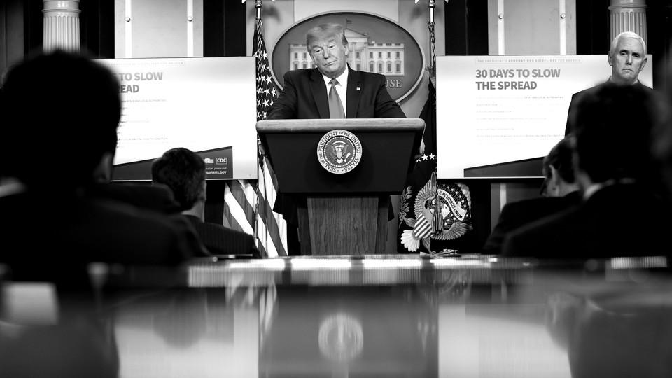 President Donald Trump at a press briefing.