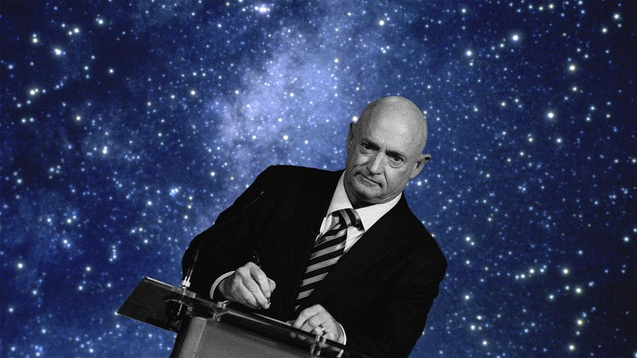 An illustration of Mark Kelly at a podium in front of stars.