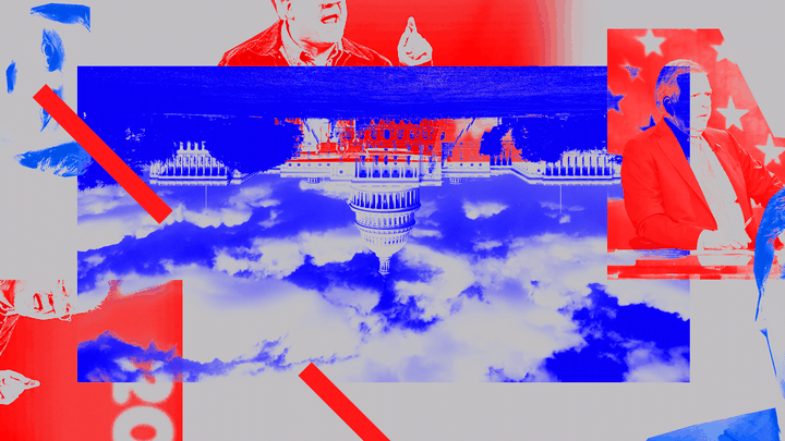 An illustration of the U.S. Capitol and politicians
