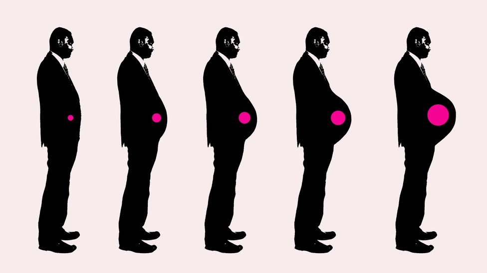 A man's belly growing over time