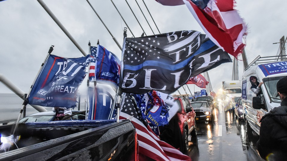 Trump supporters block traffic on the Tappan Zee Bridge on November 1, 2020 in Tarrytown, New York.