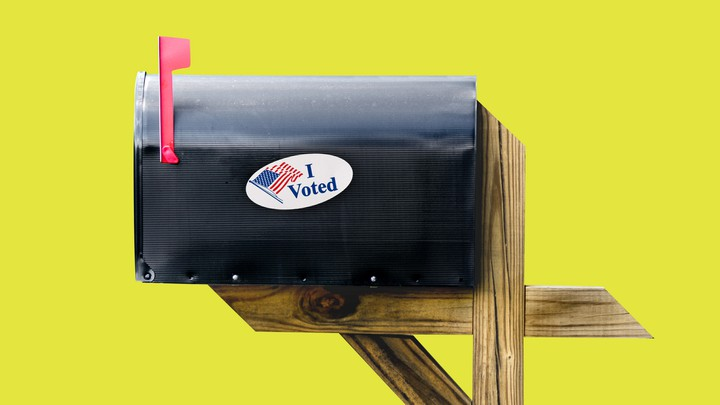 """A mailbox with an """"I Voted"""" sticker"""