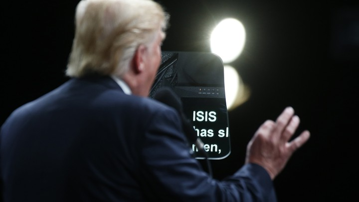 The word ISIS is pictured on a teleprompter as Republican presidential nominee Donald Trump speaks at a campaign event in Selma, North Carolina, U.S. November 3, 2016.