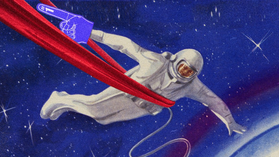 An illustration of an astronaut in a spacesuit crossing a finish line, with a foam finger in hand