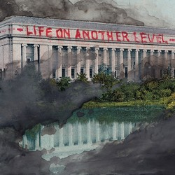 """A postcard showing the Museum of Fine Arts in Boston with """"life on a another level"""" written across it in red letters"""