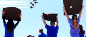 photo: Hospital workers in Dallas watch a display by the Navy's Blue Angels on May 6.