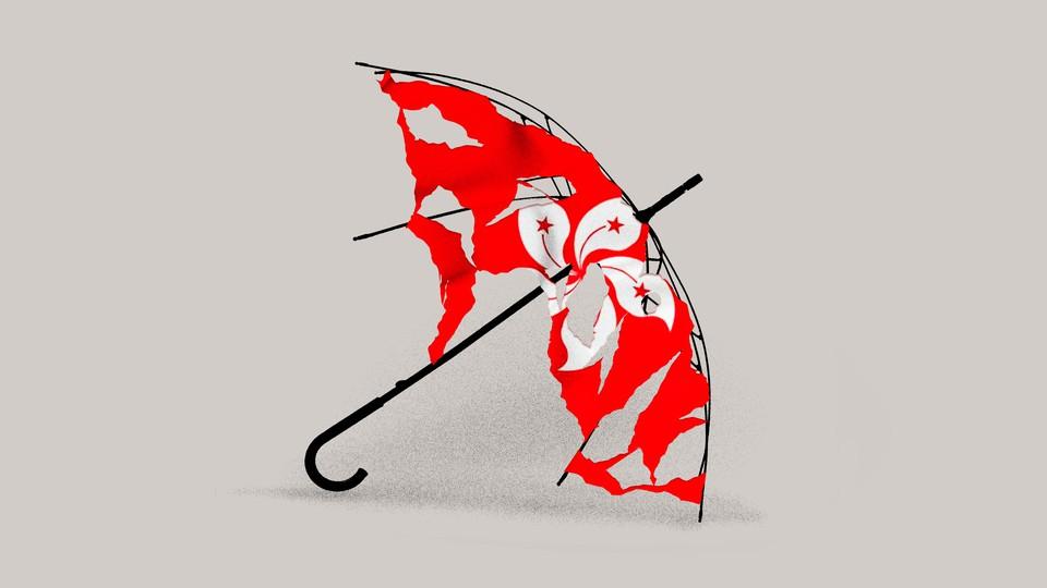 Illustration of a tattered umbrella with Hong Kong flag.