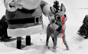 photo illustration of Rudolph with dripping red nose