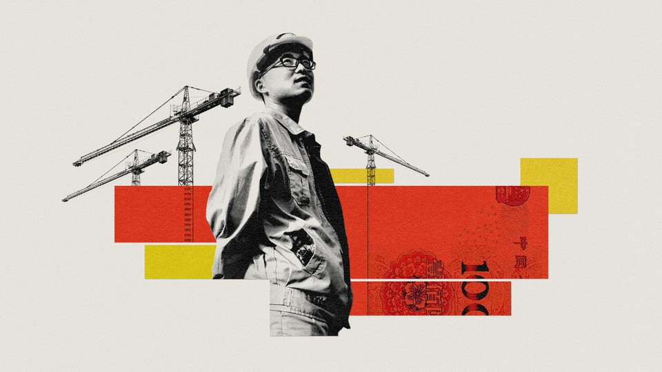 A collage of a port worker and cranes
