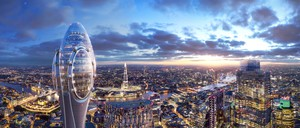Rendering of the top of the 'Tulip' above London's skyline at night, with The Shard in the middle distance.
