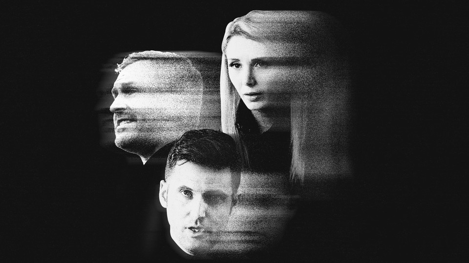Photo illustration of Mike Cernovich, Lauren Southern, and Richard Spencer