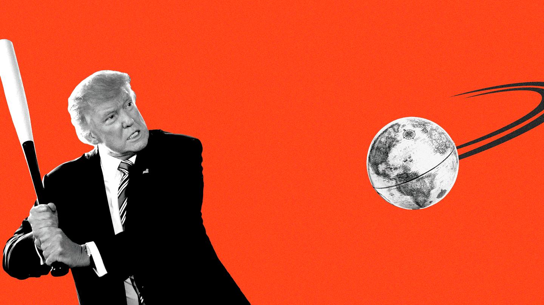 An illustration of Donald Trump swinging a baseball bat