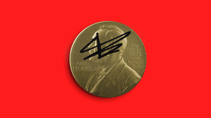 The Nobel Peace Prize medal in crosshairs