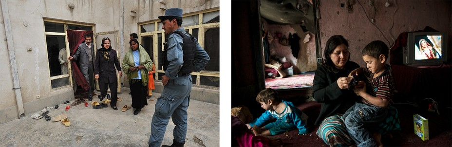Left:  A plain clothes policewoman leaves a house with officers. Right: A woman and her children sit on the floor with a box of cereal and the tv in the background