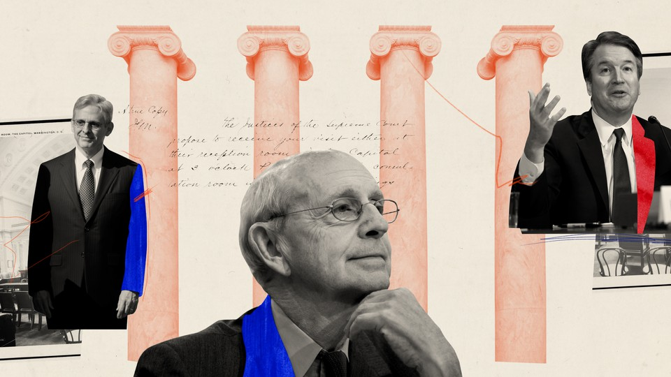 Merrick Garland, Stephen Breyer, and Brett Kavanaugh feature on a light-red background with imagery of the court.