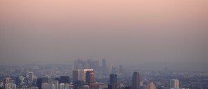 The Los Angeles and Century City skyline partially obscured through smog