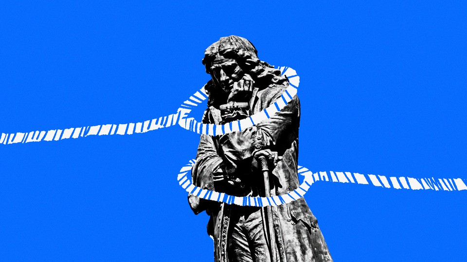 Illustration of a statue with two ropes around it
